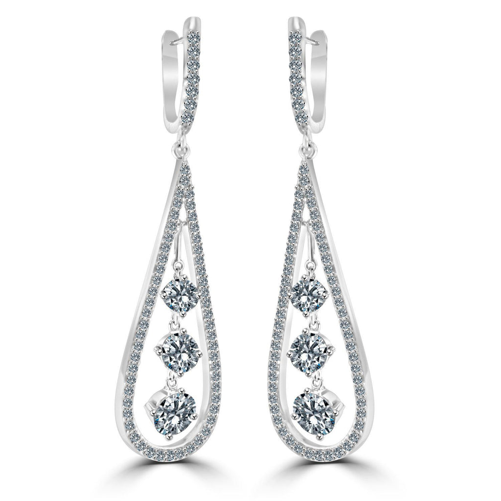 Sterling Silver Long Pear form w/three Diamond Simulant - Diamond Veneer Drop Earrings 635E303 - Diamond Veneer Jewelry