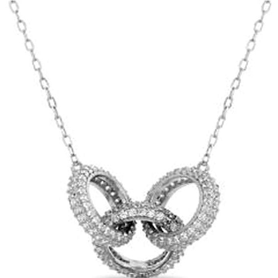 STERLING SILVER ZIRCONITE INTERLOCKED TRIO PAVE CIRCLES DESIGN NECKLACE - Diamond Veneer Jewelry