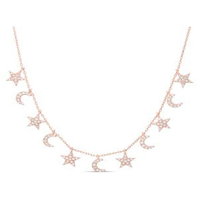STERLING SILVER ZIRCONITE STAR-CRESCENT STATIONS  NECKLACE ROSE GOLD NECKLACE - Diamond Veneer Jewelry