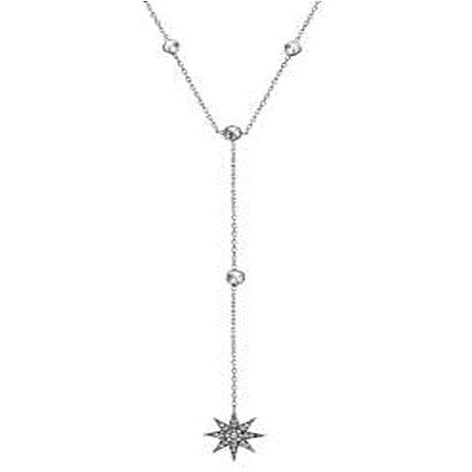 STERLING SILVER ZIRCONITE STARBURST Y SHAPE STATIONS NECKLACE RHODIUM NECKLACE - Diamond Veneer Jewelry