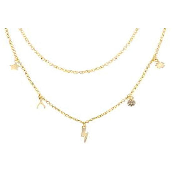 STERLING SILVER ZIRCONITE STATIONS  GOLD MULTI CHARM NECKLACE - Diamond Veneer Jewelry