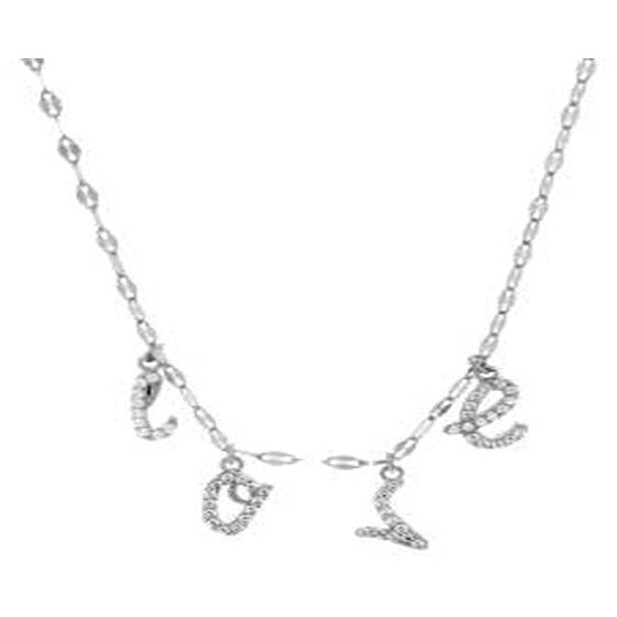 STERLING SILVER ZIRCONITE STATIONS  LOVE NECKLACE - Diamond Veneer Jewelry
