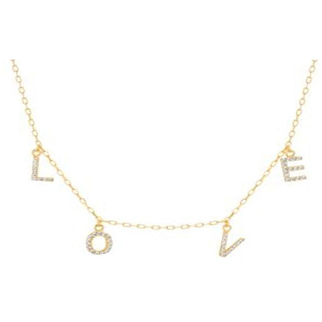 "STERLING SILVER ZIRCONITE STATIONS  NECKLACE GOLD  ""LOVE"" CABLE CHAIN - Diamond Veneer Jewelry"