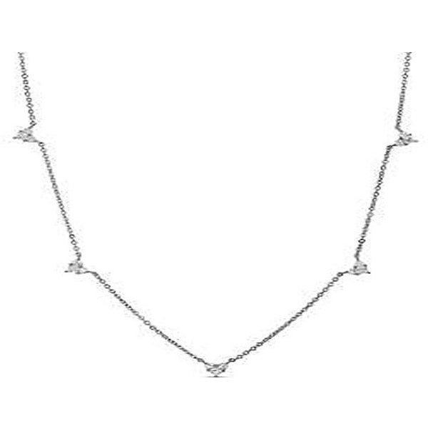 STERLING SILVER ZIRCONITE STATIONS  NECKLACE - Diamond Veneer Jewelry