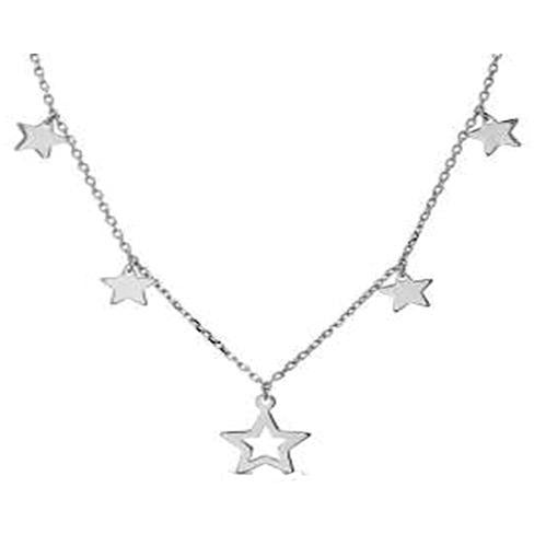 STERLING SILVER ZIRCONITE STATIONS  NECKLACE ROSE POLISHED STAR CHARM DANGLE CABLE CHAIN - Diamond Veneer Jewelry