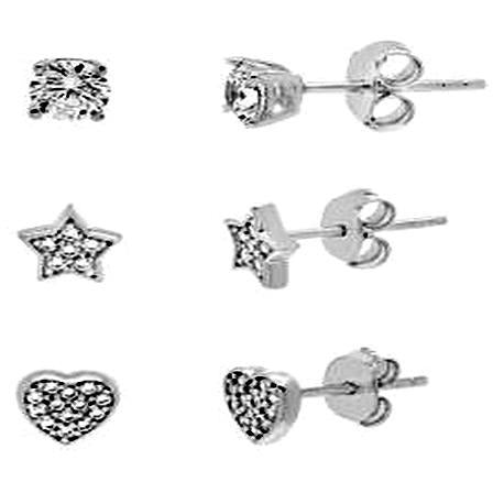 STERLING SILVER ZIRCONITE TRIO COLOR SHAPES STUD EARRING - Diamond Veneer Jewelry