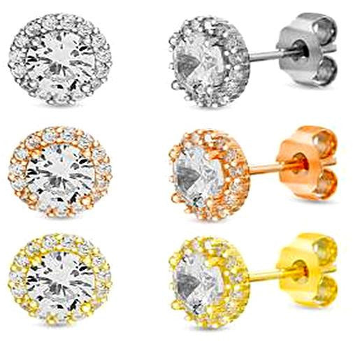 STERLING SILVER ZIRCONITE TRIO COLOR  STUD EARRING