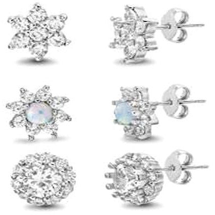 STERLING SILVER ZIRCONITE TRIO  SHAPES STUD EARRING - Diamond Veneer Jewelry
