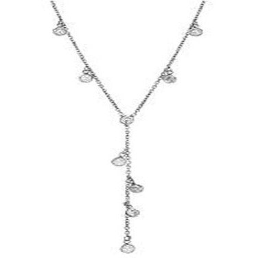 STERLING SILVER ZIRCONITE Y SHAPE CABLE CHAIN NECKLACE - Diamond Veneer Jewelry