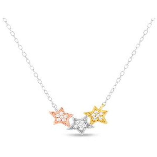TRI-COLOR STERLING SILVER ZIRCONITE TRIO STAR  CABLE CHAIN NECKLACE - Diamond Veneer Jewelry