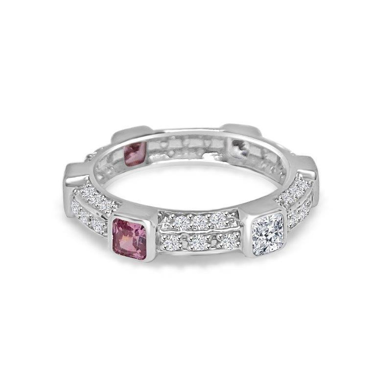 Triple dimension Square stations Zirconite Cubic Zirconia Sterling Silver all around Eternity band Ring.