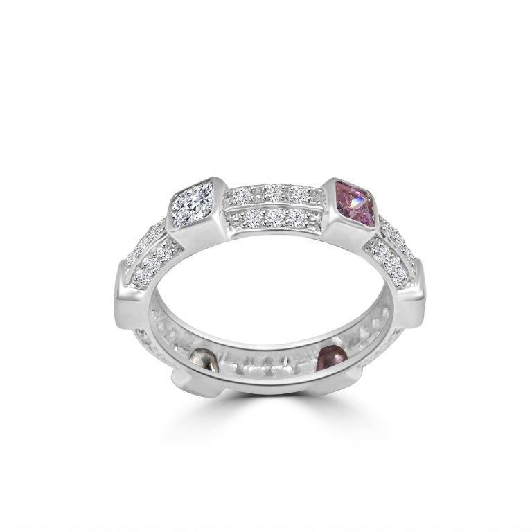 Triple dimension Square stations Zirconite Cubic Zirconia Sterling Silver all around Eternity band Ring