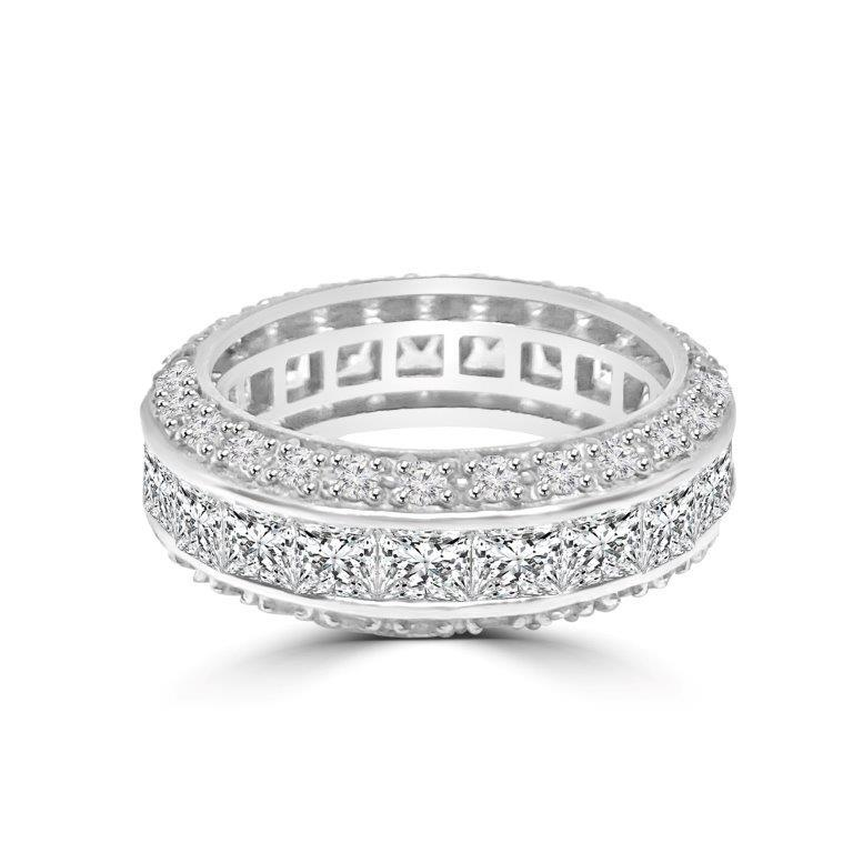 Triple dimension Square Zirconite Cubic Zirconia Sterling Silver Eternity band Ring.600R13061