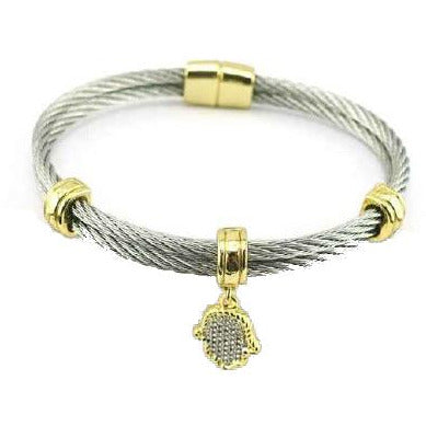 Two Tone Stainless Steel Cable Hamsa Charm Bracelet/Bangle. 500B3897 - Diamond Veneer Jewelry