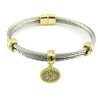 Two Tone Stainless Steel Cable Jewish Star Charm Bracelet/Bangle - Diamond Veneer Jewelry