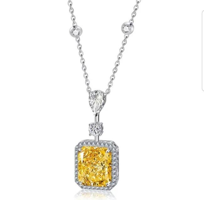 Ultra radiant Cushion Diamond Veneer Cubic Zirconia Sterling Silver halo Pendant. 800P030