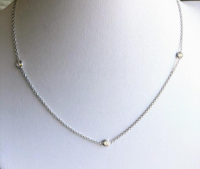 Zirconite By the Cubic Yard Cubic Zirconia Sterling Silver Station necklace. ZBYX