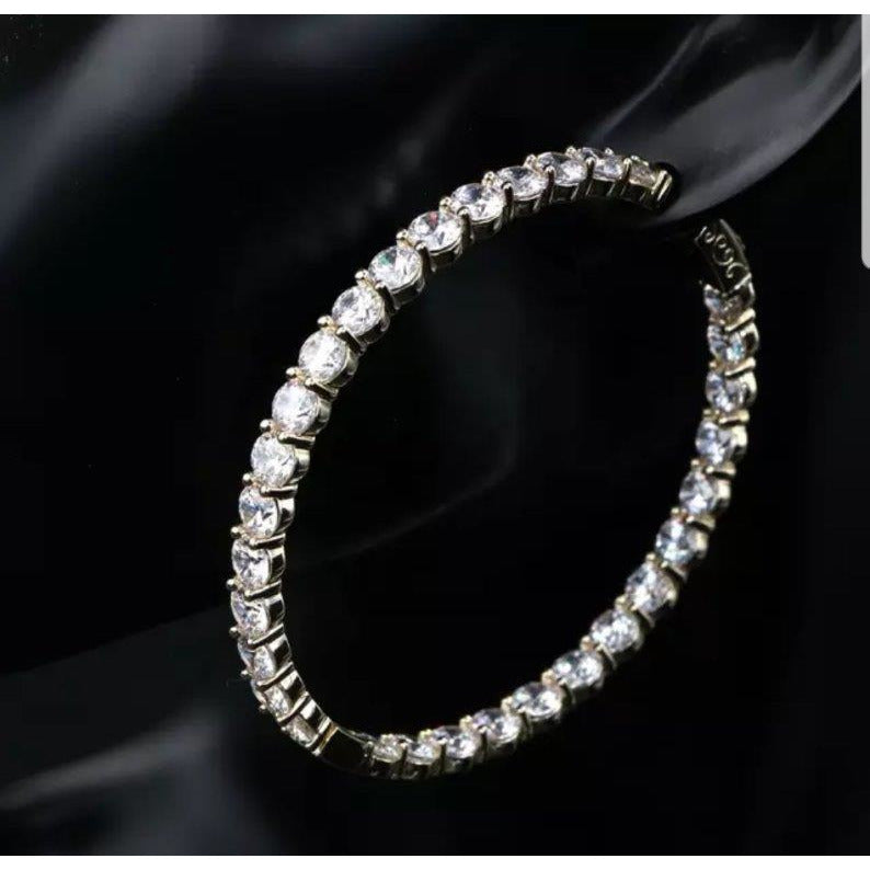 Zirconite Cubic Zirconia Double view Hoop Earrings