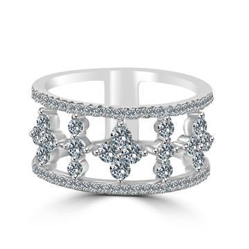 Zirconite Cubic zirconia Pave settings Sterling silver wide Eternity Band Ring - Diamond Veneer Jewelry