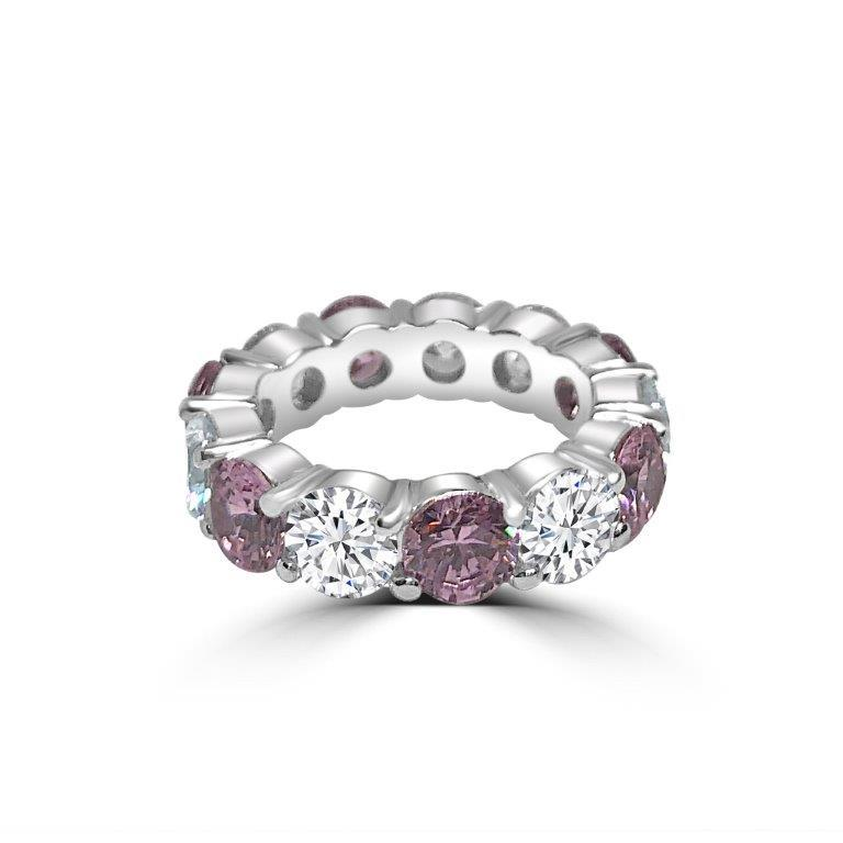5CT TW Zirconite Cubic Zirconia Sterling Silver all around Eternity band Ring. RC38Color