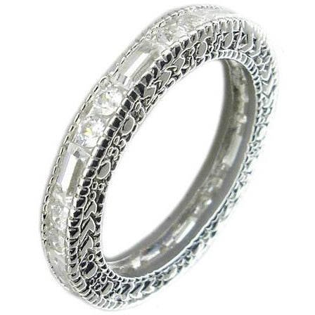 Zirconite Cubic zirconia Sterling silver eternity band Ring