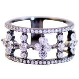 Zirconite Cubic zirconia Pave settings Sterling silver wide Gunmetal finish Eternity Band Ring - Diamond Veneer Jewelry