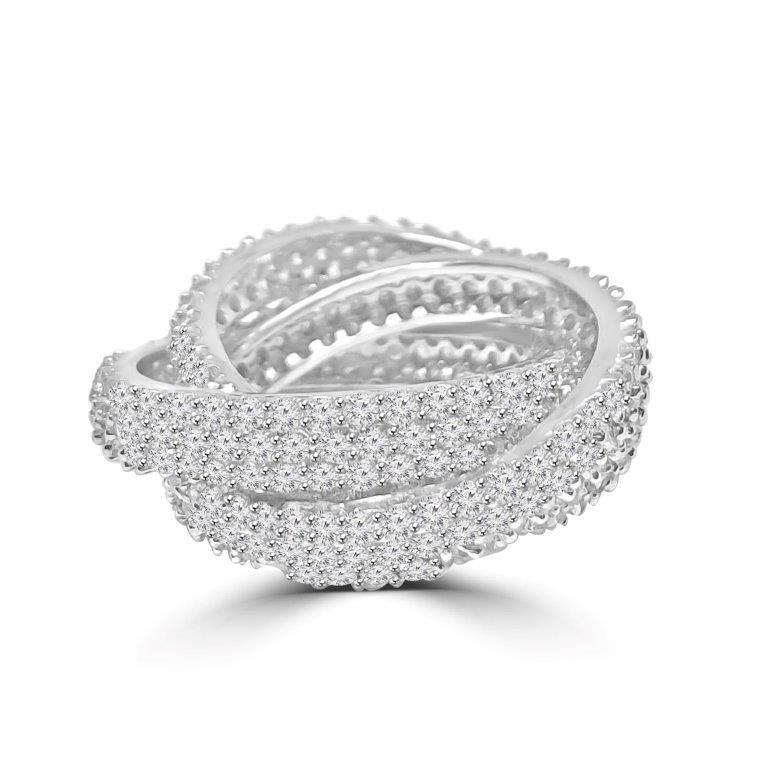 Zirconite Cubic Zirconia Triple Rolling Love Band Pave Sterling Silver Eternity Ring. BTR233