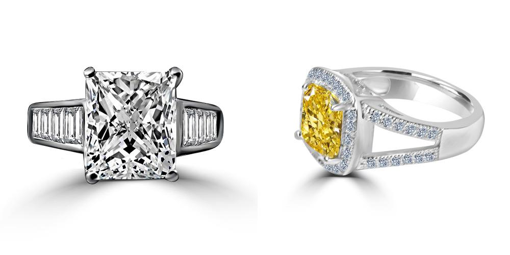 Diamond coated cubic zirconia rings and wedding bands