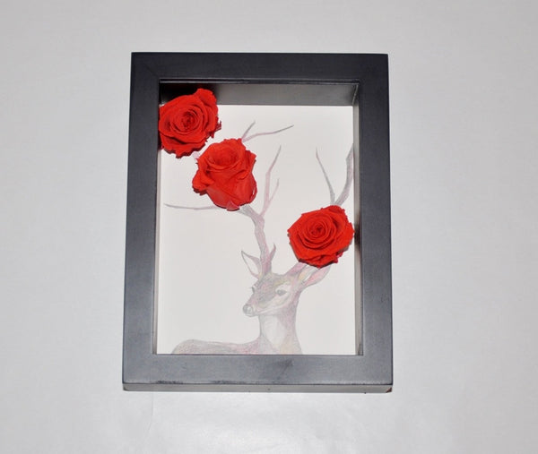 Preserved Flower Photo Frame - Antler