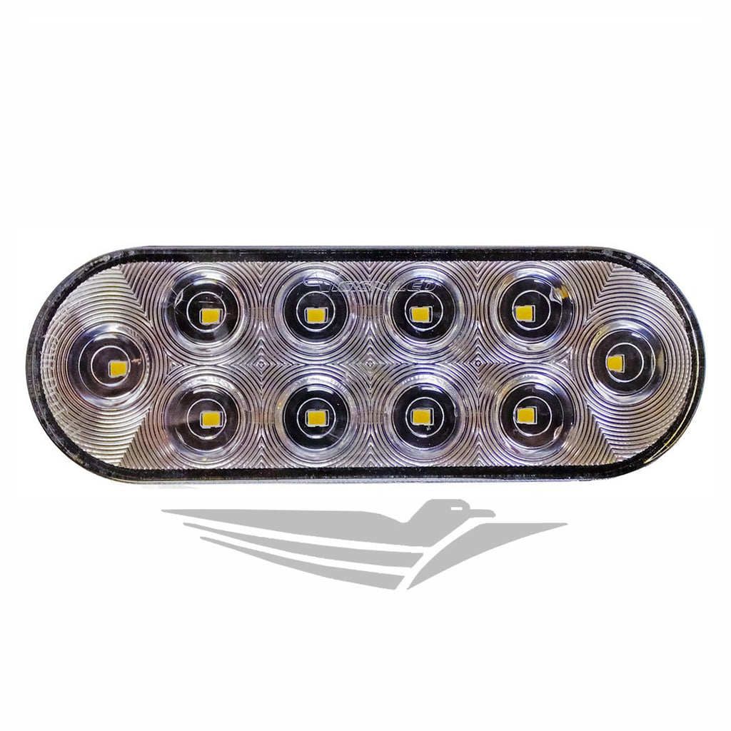 "6"" Oval LED Clear Back Up Light (10 Diodes)"