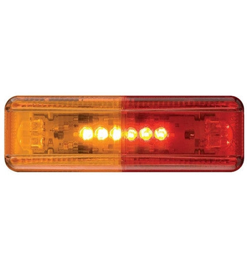 "Light, 4"" x 1"" Optronics Rectangle LED Fender Mount Clearance Light Only - AMBER/RED"