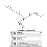 Hydraulic Brake Line Kit for Torsion Single Axle Trailers - Drum Brakes