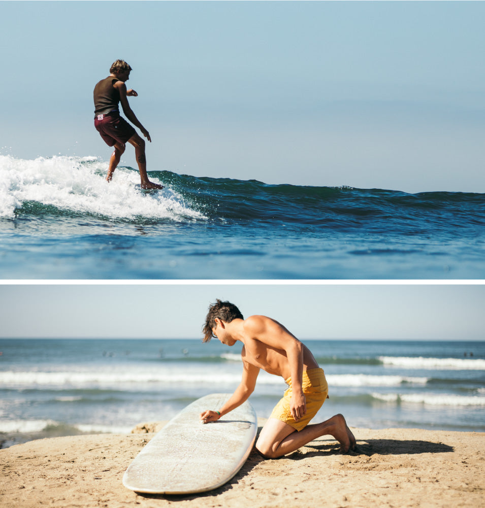 Men wearing Birdwell Board Shorts Surfing