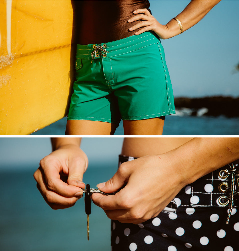 Woman wearing Birdwell 405 Polka dot board shorts