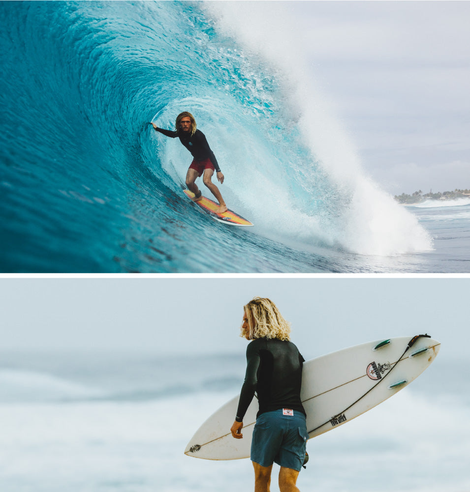 Surfers wearing Birdwell board shorts