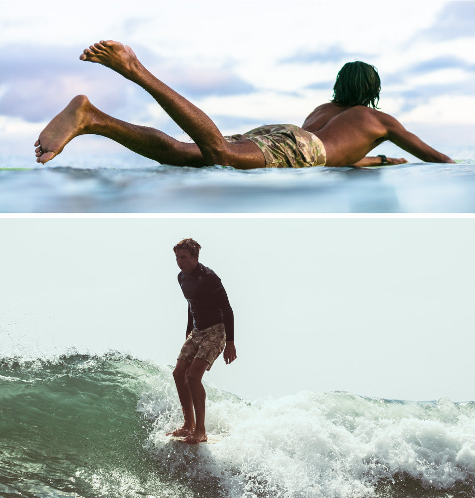 Surfers in ocean wearing Camo 808 board shorts