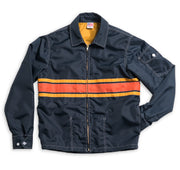 Men's Limited-Edition 3 Stripe Competition Jacket - Navy & Gold / Paprika Flat Lay Front View