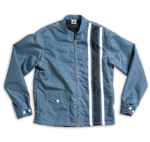 Mens Limited-Edition 3 Stripe Racing Jacket - Federal Blue & White / Navy