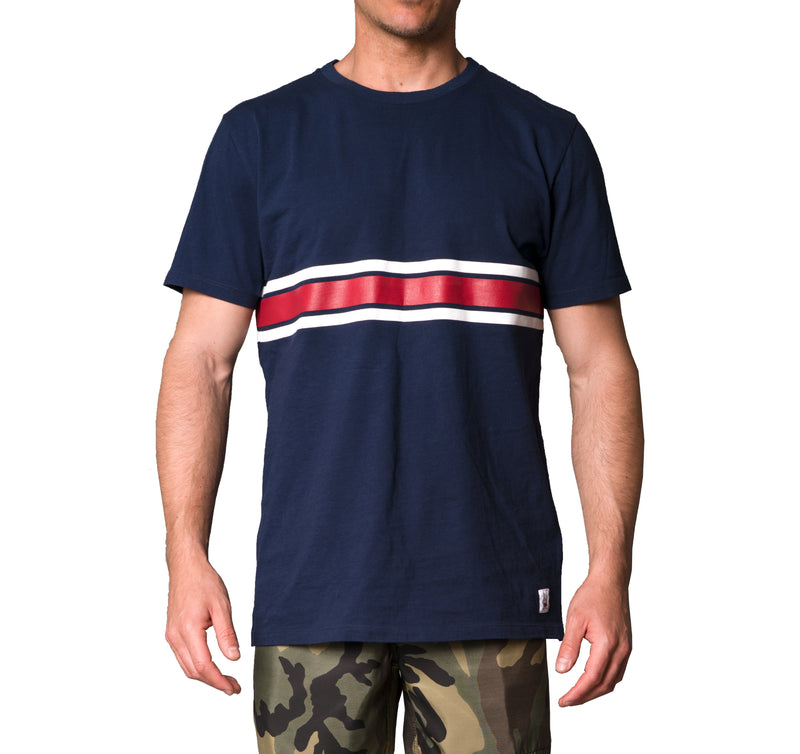 3 Stripe Comp T-Shirt - Navy & White / Red