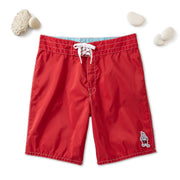 311 Stone-Washed Board Shorts - Red