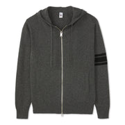 3 Stripe Merino - Blend Hoodie - Charcoal & Black
