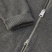 3stripeMerinoBlendHoodie_MENS_OUTERWEAR_CHARCOAL_BLACK_MA6009 close up zipper detail
