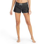 402BoardShorts_WOMENS_BOARDSHORTS-CLASSIC_BLACK_WA3402 On Model Front View