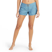 402BoardShorts_WOMENS_BOARDSHORTS-CLASSIC_FEDERALBLUE_WA3402 On model front view