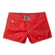 402BoardShorts_WOMENS_BOARDSHORTS-CLASSIC_RED_WA3402 Flat Lay Front View