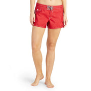 402BoardShorts_WOMENS_BOARDSHORTS-CLASSIC_RED_WA3402 On Model Front View