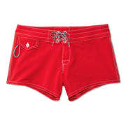 404BoardShorts_WOMENS_BOARDSHORTS-CLASSIC_RED_WA3404 Flat Lay Front View