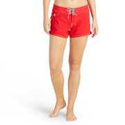 404BoardShorts_WOMENS_BOARDSHORTS-CLASSIC_RED_WA3404 On Model Front View