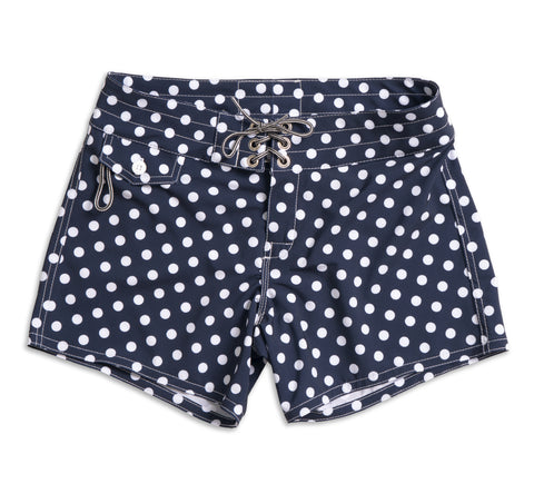 405 Board Shorts - Navy & White Polka Dot