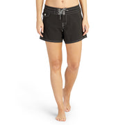 405BoardShorts_WOMENS_BOARDSHORTS-CLASSIC_BLACK_WA3405 On Model Front View